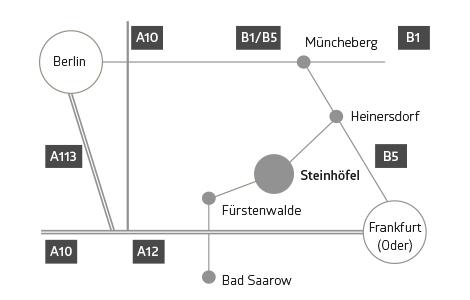 Anfahrtskizze landkunstleben e. V., Kunstverein in Steinhöfel in Brandenburg